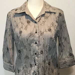Dress Barn Embroidered Button-Front Blouse Size M